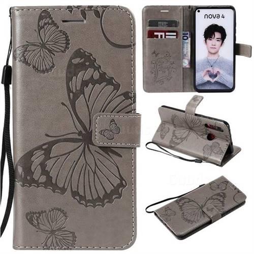 Embossing 3D Butterfly Leather Wallet Case for Huawei nova 4 - Gray