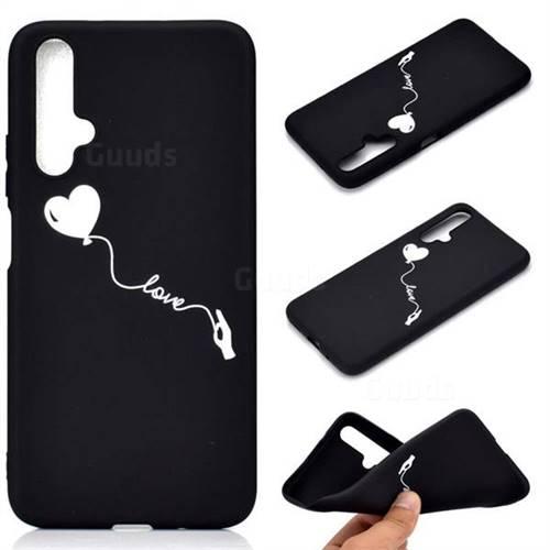 Heart Balloon Chalk Drawing Matte Black TPU Phone Cover for Huawei Nova 5 / Nova 5 Pro