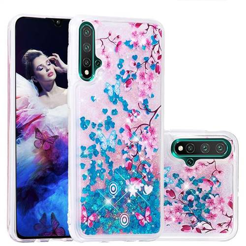 Blue Plum Blossom Dynamic Liquid Glitter Quicksand Soft TPU Case for Huawei Nova 5 / Nova 5 Pro