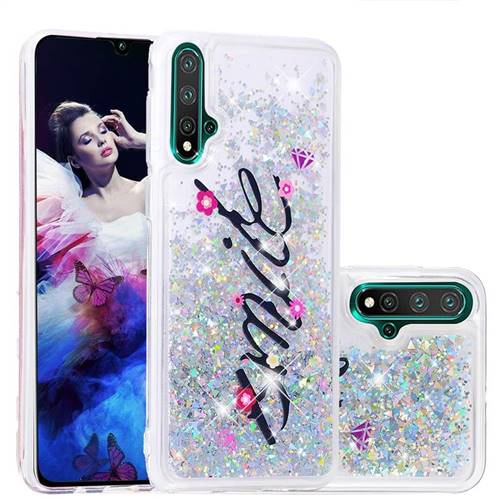 Smile Flower Dynamic Liquid Glitter Quicksand Soft TPU Case for Huawei Nova 5 / Nova 5 Pro