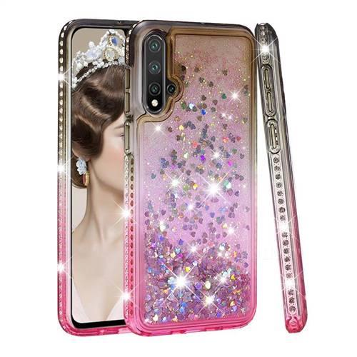 Diamond Frame Liquid Glitter Quicksand Sequins Phone Case for Huawei Nova 5 / Nova 5 Pro - Gray Pink