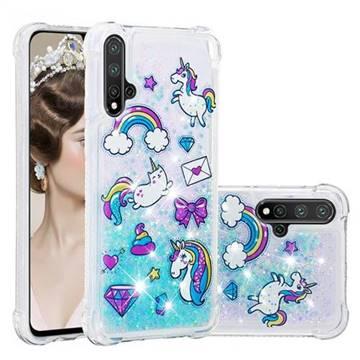 Fashion Unicorn Dynamic Liquid Glitter Sand Quicksand Star TPU Case for Huawei Nova 5 / Nova 5 Pro