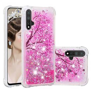 Pink Cherry Blossom Dynamic Liquid Glitter Sand Quicksand Star TPU Case for Huawei Nova 5 / Nova 5 Pro