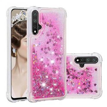 Dynamic Liquid Glitter Sand Quicksand TPU Case for Huawei Nova 5 / Nova 5 Pro - Pink Love Heart