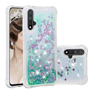 Dynamic Liquid Glitter Sand Quicksand TPU Case for Huawei Nova 5 / Nova 5 Pro - Green Love Heart