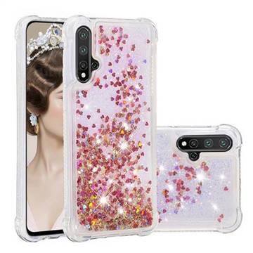 Dynamic Liquid Glitter Sand Quicksand TPU Case for Huawei Nova 5 / Nova 5 Pro - Rose Gold Love Heart