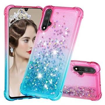 Rainbow Gradient Liquid Glitter Quicksand Sequins Phone Case for Huawei Nova 5 / Nova 5 Pro - Pink Blue