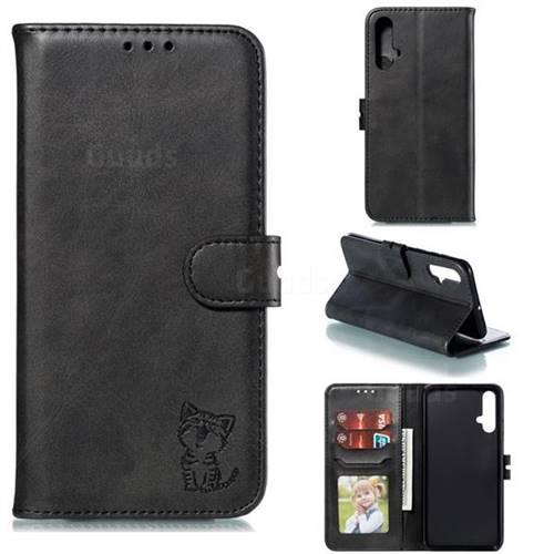 Embossing Happy Cat Leather Wallet Case for Huawei Nova 5 / Nova 5 Pro - Black