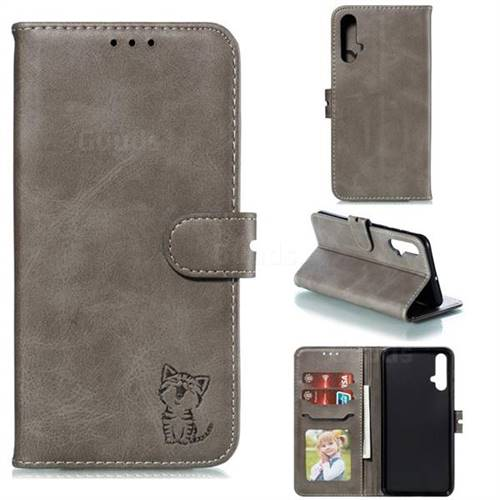 Embossing Happy Cat Leather Wallet Case for Huawei Nova 5 / Nova 5 Pro - Gray