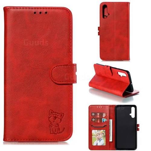 Embossing Happy Cat Leather Wallet Case for Huawei Nova 5 / Nova 5 Pro - Red