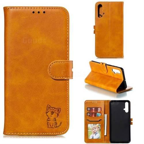 Embossing Happy Cat Leather Wallet Case for Huawei Nova 5 / Nova 5 Pro - Yellow
