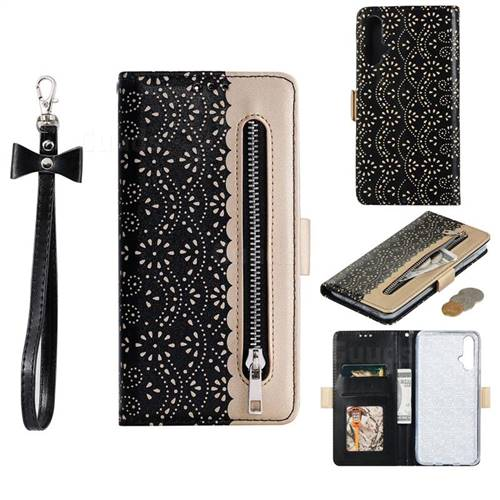 Luxury Lace Zipper Stitching Leather Phone Wallet Case for Huawei Nova 5 / Nova 5 Pro - Black