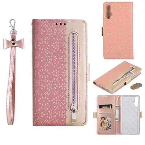 Luxury Lace Zipper Stitching Leather Phone Wallet Case for Huawei Nova 5 / Nova 5 Pro - Pink