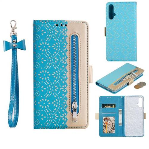 Luxury Lace Zipper Stitching Leather Phone Wallet Case for Huawei Nova 5 / Nova 5 Pro - Blue