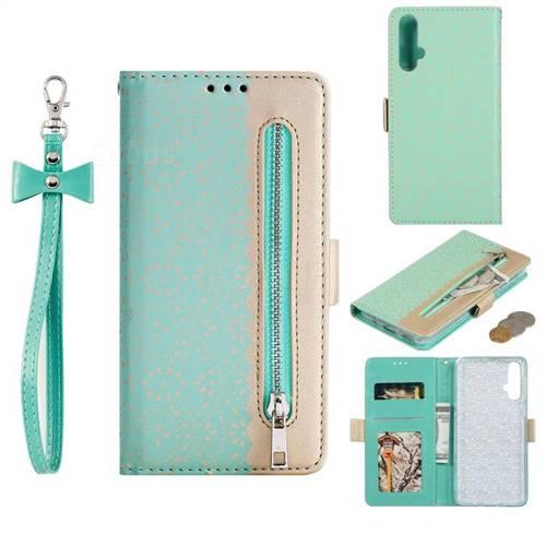 Luxury Lace Zipper Stitching Leather Phone Wallet Case for Huawei Nova 5 / Nova 5 Pro - Green