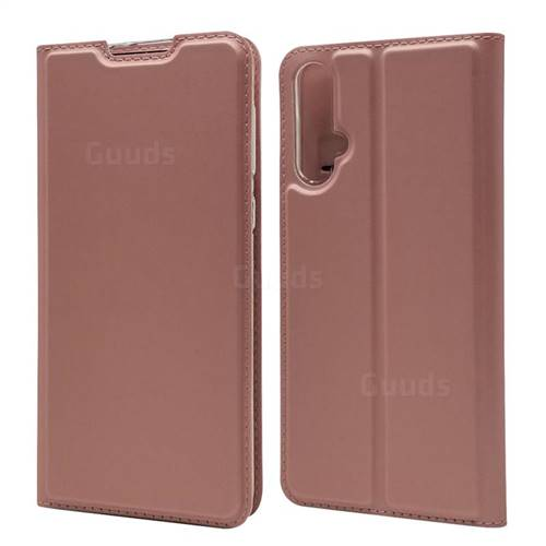 Ultra Slim Card Magnetic Automatic Suction Leather Wallet Case for Huawei Nova 5 / Nova 5 Pro - Rose Gold