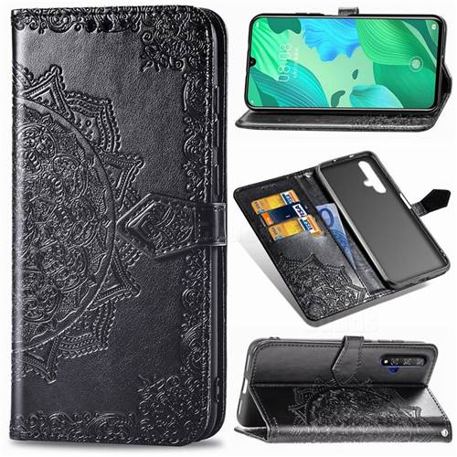 Embossing Imprint Mandala Flower Leather Wallet Case for Huawei Nova 5 / Nova 5 Pro - Black