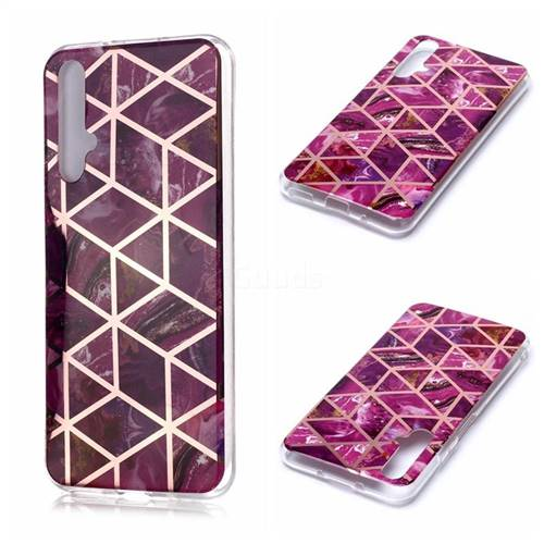 Purple Rhombus Galvanized Rose Gold Marble Phone Back Cover for Huawei nova 5T