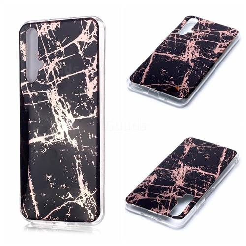Black Galvanized Rose Gold Marble Phone Back Cover for Huawei nova 5T