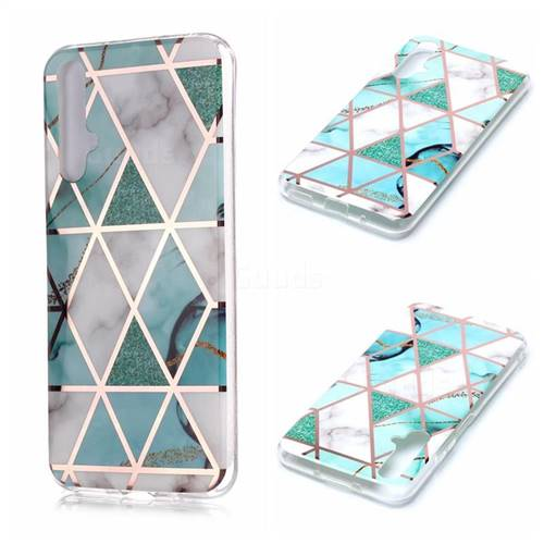 Green White Galvanized Rose Gold Marble Phone Back Cover for Huawei nova 5T