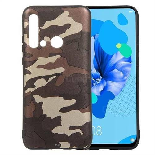 Camouflage Soft TPU Back Cover for Huawei nova 5i - Gold Coffee