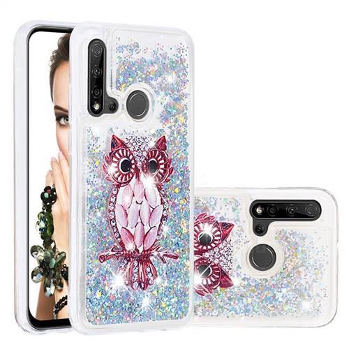 Seashell Owl Dynamic Liquid Glitter Quicksand Soft TPU Case for Huawei nova 5i