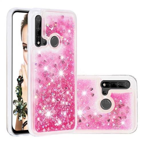 Dynamic Liquid Glitter Quicksand Sequins TPU Phone Case for Huawei nova 5i - Rose