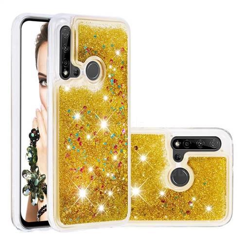 Dynamic Liquid Glitter Quicksand Sequins TPU Phone Case for Huawei nova 5i - Golden