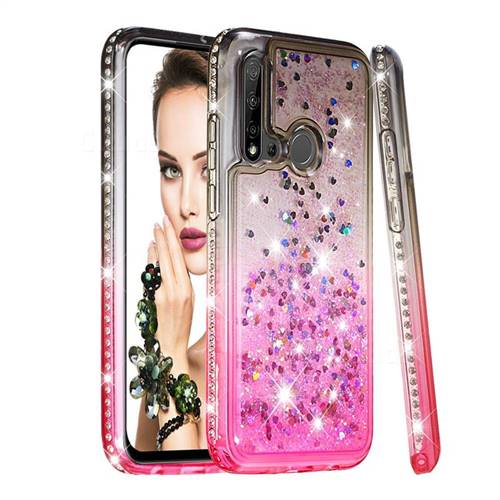Diamond Frame Liquid Glitter Quicksand Sequins Phone Case for Huawei nova 5i - Gray Pink
