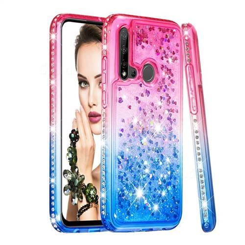 Diamond Frame Liquid Glitter Quicksand Sequins Phone Case for Huawei nova 5i - Pink Blue