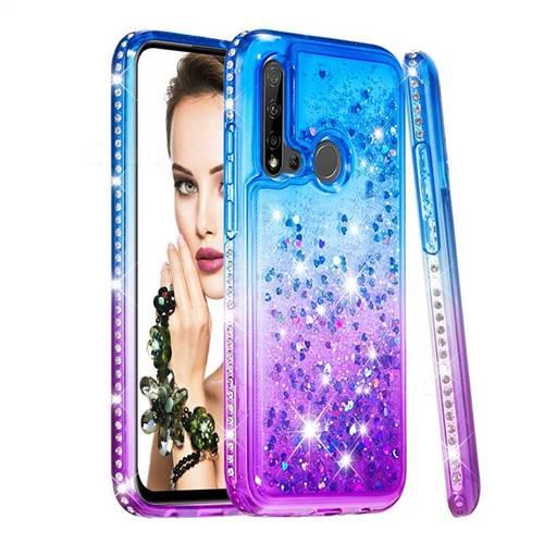 Diamond Frame Liquid Glitter Quicksand Sequins Phone Case for Huawei nova 5i - Blue Purple