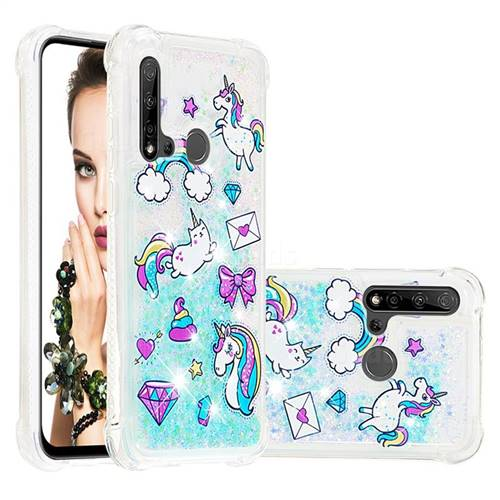 Fashion Unicorn Dynamic Liquid Glitter Sand Quicksand Star TPU Case for Huawei nova 5i