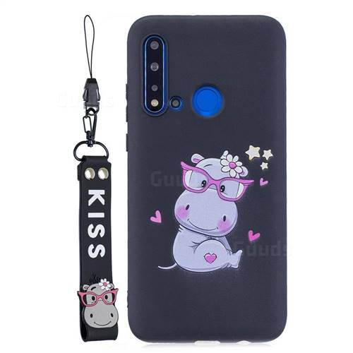 Black Flower Hippo Soft Kiss Candy Hand Strap Silicone Case for Huawei nova 5i