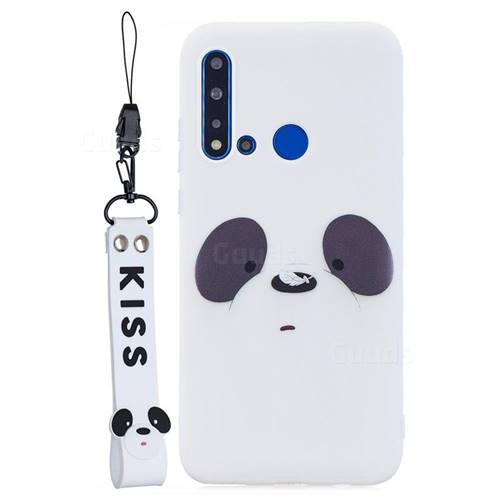 White Feather Panda Soft Kiss Candy Hand Strap Silicone Case for Huawei nova 5i