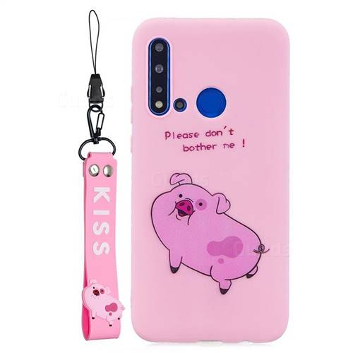 Pink Cute Pig Soft Kiss Candy Hand Strap Silicone Case for Huawei nova 5i