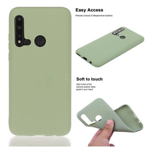 Soft Matte Silicone Phone Cover for Huawei nova 5i - Bean Green