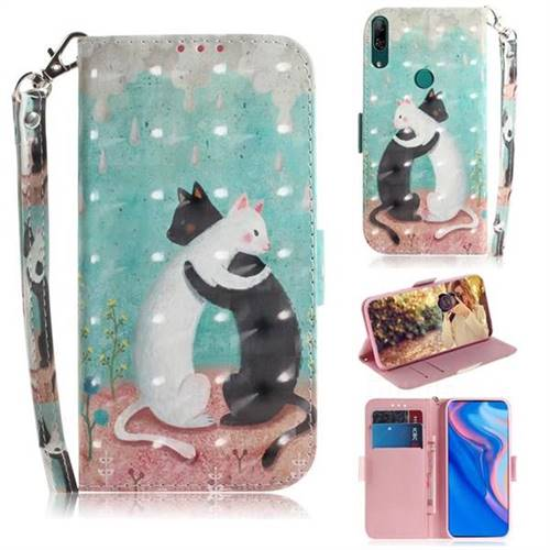 Black and White Cat 3D Painted Leather Wallet Phone Case for Huawei nova 5i