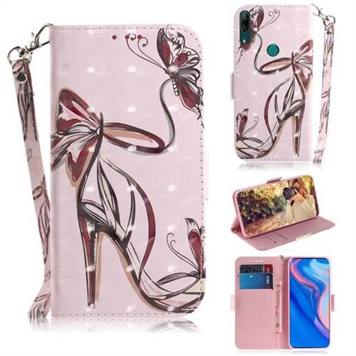 Butterfly High Heels 3D Painted Leather Wallet Phone Case for Huawei nova 5i