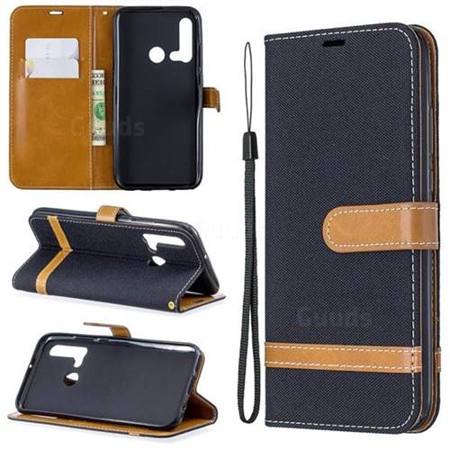 Jeans Cowboy Denim Leather Wallet Case for Huawei nova 5i - Black
