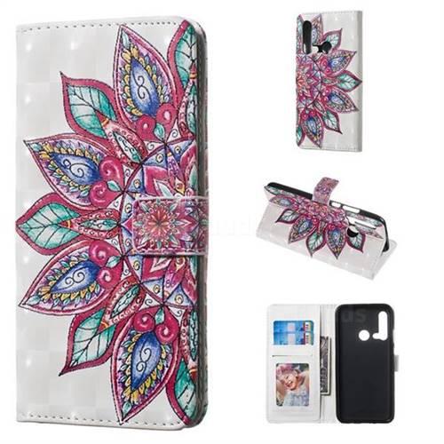 Mandara Flower 3D Painted Leather Phone Wallet Case for Huawei nova 5i