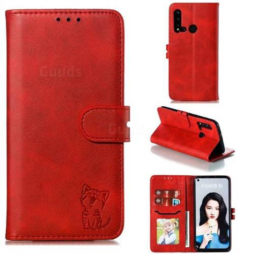Embossing Happy Cat Leather Wallet Case for Huawei nova 5i - Red