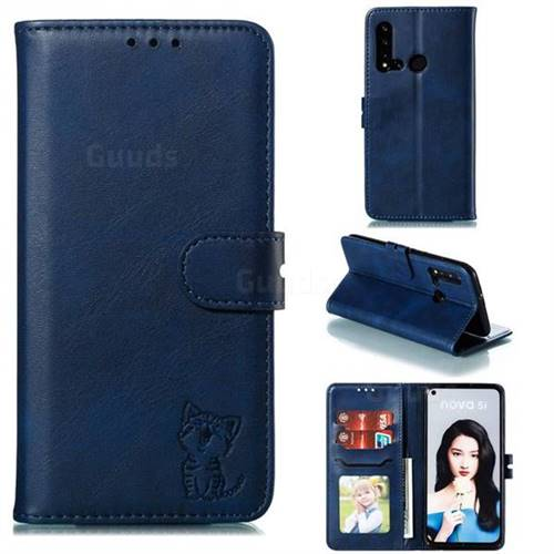 Embossing Happy Cat Leather Wallet Case for Huawei nova 5i - Blue