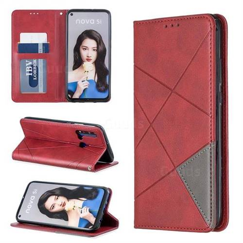 Prismatic Slim Magnetic Sucking Stitching Wallet Flip Cover for Huawei nova 5i - Red