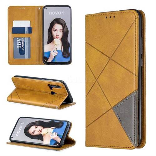 Prismatic Slim Magnetic Sucking Stitching Wallet Flip Cover for Huawei nova 5i - Yellow