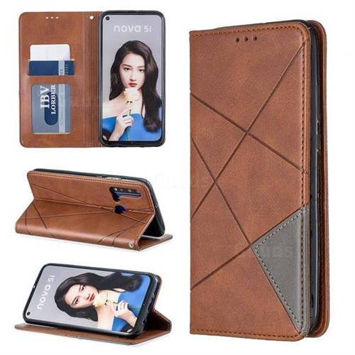 Prismatic Slim Magnetic Sucking Stitching Wallet Flip Cover for Huawei nova 5i - Brown