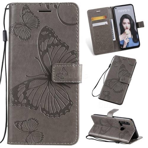 Embossing 3D Butterfly Leather Wallet Case for Huawei nova 5i - Gray