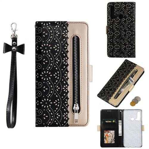 Luxury Lace Zipper Stitching Leather Phone Wallet Case for Huawei nova 5i - Black