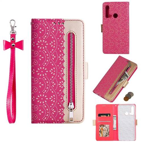 Luxury Lace Zipper Stitching Leather Phone Wallet Case for Huawei nova 5i - Rose