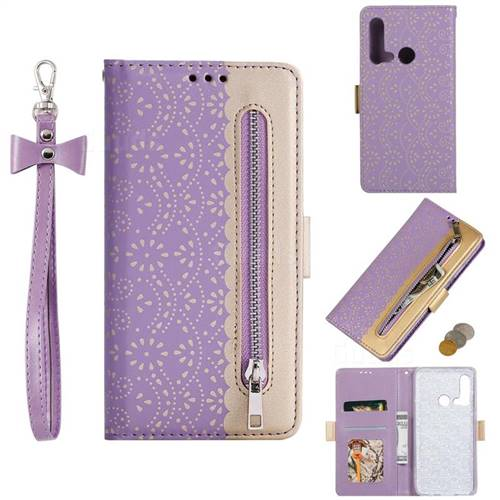 Luxury Lace Zipper Stitching Leather Phone Wallet Case for Huawei nova 5i - Purple