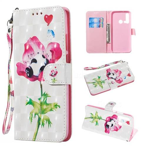 Flower Panda 3D Painted Leather Wallet Phone Case for Huawei nova 5i